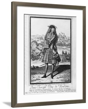 Louis Joseph De Bourbon, Duke of Vendome, known as 'The Great Vendome' (Engraving) (B/W Photo)-French-Framed Giclee Print