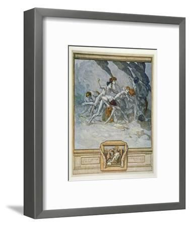 Illustration from Dante's 'Divine Comedy', Inferno, Canto Xxx: 22, 1921 (W/C on Paper)-Franz Von Bayros-Framed Premium Giclee Print