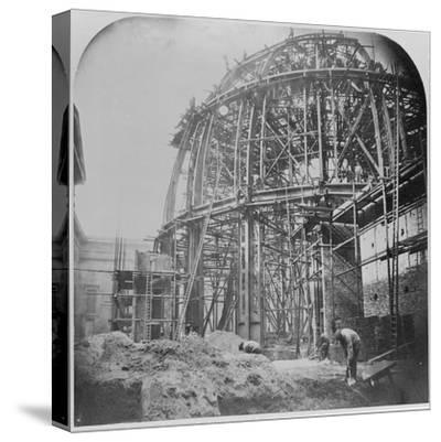 Construction of the British Museum Reading Room, 1854-57 (B/W Photo)-English Photographer-Stretched Canvas Print