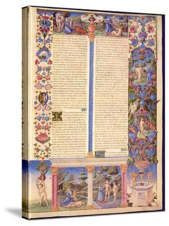 Fol.6R Genesis. Creation of Adam and Eve, from the Borso D'Este Bible. Vol. 1 (Vellum)-Italian-Stretched Canvas Print
