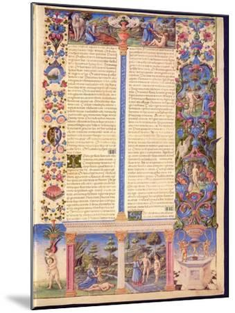 Fol.6R Genesis. Creation of Adam and Eve, from the Borso D'Este Bible. Vol. 1 (Vellum)-Italian-Mounted Giclee Print