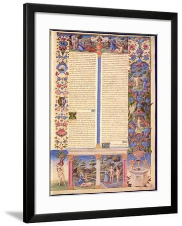 Fol.6R Genesis. Creation of Adam and Eve, from the Borso D'Este Bible. Vol. 1 (Vellum)-Italian-Framed Giclee Print