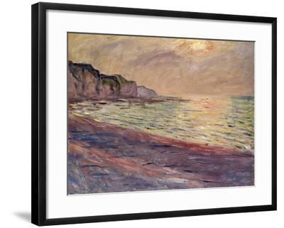 The Beach at Pourville, Setting Sun, 1882-Claude Monet-Framed Giclee Print