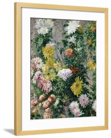 White and Yellow Chrysanthemums, 1893-Gustave Caillebotte-Framed Giclee Print