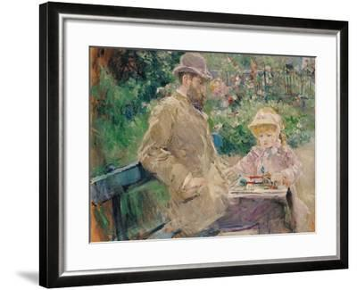 Eugene Manet (1833-92) with His Daughter at Bougival, C.1881-Berthe Morisot-Framed Giclee Print