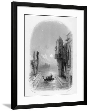 Moonlit Scene in Venice, Engraved by Robert Brandard, 1846 (Engraving)-George Cattermole-Framed Giclee Print