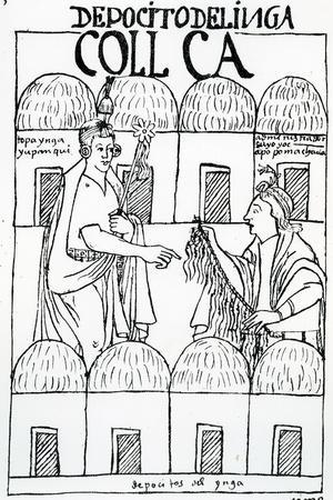 Inca Storehouses (Woodcut)-Felipe Huaman Poma De Ayala-Stretched Canvas Print