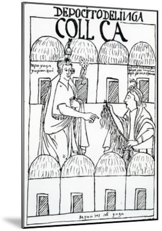 Inca Storehouses (Woodcut)-Felipe Huaman Poma De Ayala-Mounted Giclee Print