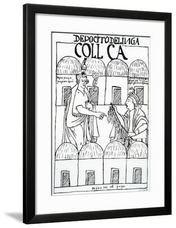 Inca Storehouses (Woodcut)-Felipe Huaman Poma De Ayala-Framed Giclee Print
