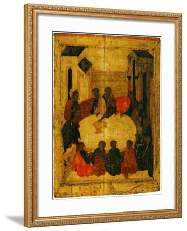 The Last Supper (Tempera and Gold Leaf on Panel)-Russian-Framed Giclee Print