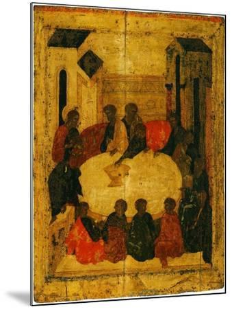The Last Supper (Tempera and Gold Leaf on Panel)-Russian-Mounted Giclee Print
