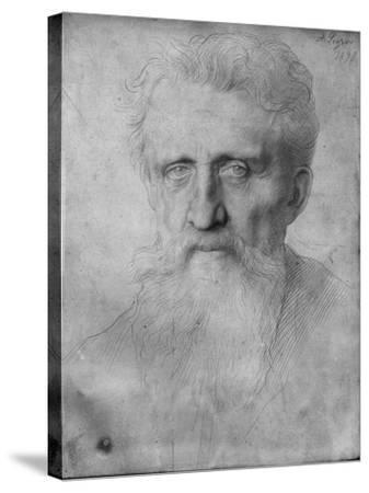 Head of a Man with Long Beard, 1898 (Silverpoint on White Cardboard)-Alphonse Legros-Stretched Canvas Print