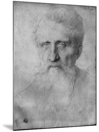 Head of a Man with Long Beard, 1898 (Silverpoint on White Cardboard)-Alphonse Legros-Mounted Giclee Print