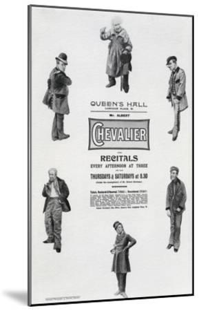 Poster Advertising Albert Chevalier's Recital at the Queen's Hall (Engraving)-English-Mounted Giclee Print