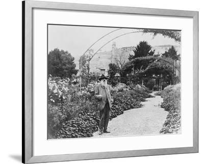 Claude Monet (1841-1926) in His Garden at Giverny, C.1925 (B/W Photo)-French Photographer-Framed Giclee Print