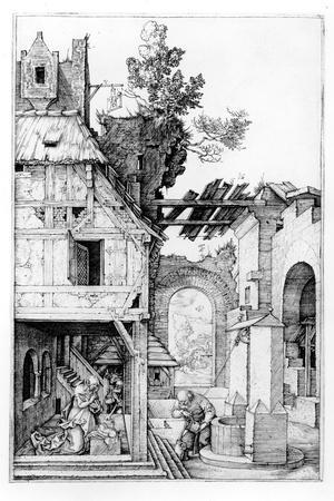 The Nativity, C.1504 (Engraving)-Albrecht D?rer-Stretched Canvas Print