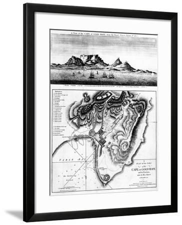 A View of the Cape of Good Hope and a Plan of the Town of the Cape of Good Hope and its Environs-English-Framed Giclee Print