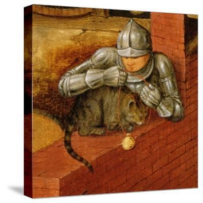 Knight Putting a Bell on a Cat, Detail from 'The Flemish Proverbs'-Pieter Brueghel the Younger-Stretched Canvas Print