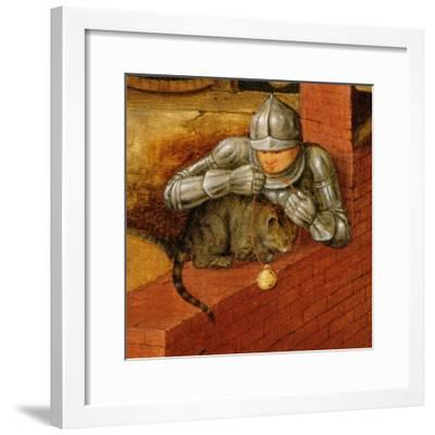 Knight Putting a Bell on a Cat, Detail from 'The Flemish Proverbs'-Pieter Brueghel the Younger-Framed Giclee Print