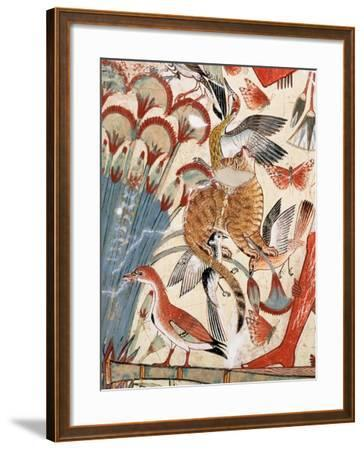 Nebamun Hunting in the Marshes with His Wife an Daughter-Egyptian 18th Dynasty-Framed Giclee Print