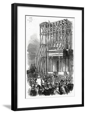 Arrival of the Wellington Statue at the Arch, Published in 'The Illustrated London News'-Ebenezer Landells-Framed Giclee Print