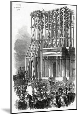 Arrival of the Wellington Statue at the Arch, Published in 'The Illustrated London News'-Ebenezer Landells-Mounted Giclee Print