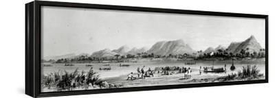 Mountains and Market Canoes Near Bokwen-William Allen-Framed Stretched Canvas Print