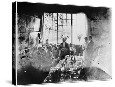 Wedding Meal of Suzanne Hoschede and Theodore Earl Butler, 20 July 1892 (B/W Print)--Stretched Canvas Print