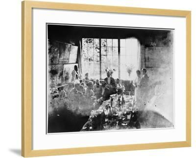 Wedding Meal of Suzanne Hoschede and Theodore Earl Butler, 20 July 1892 (B/W Print)--Framed Giclee Print
