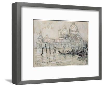 Venice Or, the Gondolas, 1908 (Black Chalk and W/C on Paper)-Paul Signac-Framed Premium Giclee Print