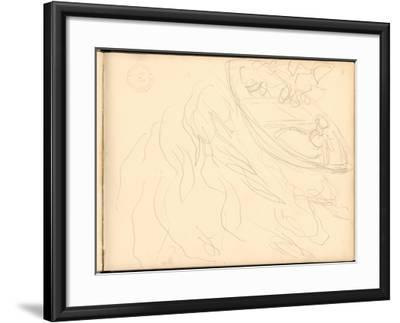 Young Girl on a Boat (Pencil on Paper)-Claude Monet-Framed Giclee Print