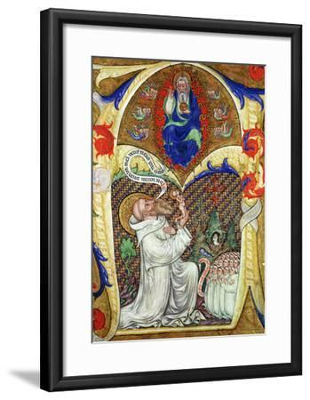 Historiated Initial 'A' Depicting St. Benedict Offering His Soul to God the Father, Lombardy School- Master of the Vitae Imperatorum-Framed Giclee Print