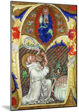 Historiated Initial 'A' Depicting St. Benedict Offering His Soul to God the Father, Lombardy School- Master of the Vitae Imperatorum-Mounted Giclee Print