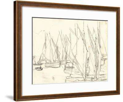 In the Port at Honfleur (Pencil on Paper)-Claude Monet-Framed Giclee Print