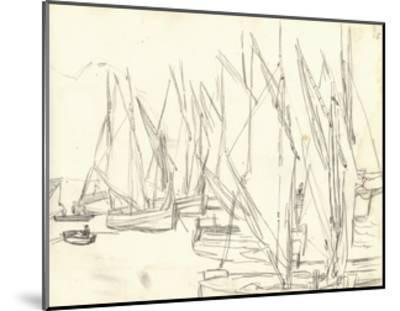 In the Port at Honfleur (Pencil on Paper)-Claude Monet-Mounted Giclee Print