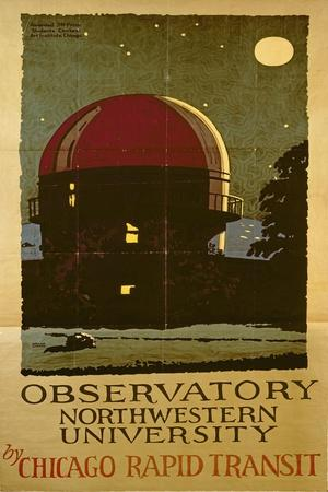Observatory Northwestern University, Poster for the Chicago Rapid Transit Company, USA, 1925-Wallace Swanson-Stretched Canvas Print