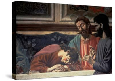 The Last Supper, Detail of Judas, Christ and St. John, 1447 (Fresco) (Detail of 85172)-Andrea Del Castagno-Stretched Canvas Print