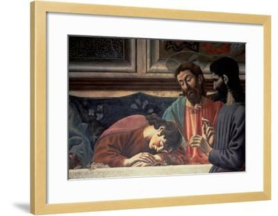 The Last Supper, Detail of Judas, Christ and St. John, 1447 (Fresco) (Detail of 85172)-Andrea Del Castagno-Framed Giclee Print