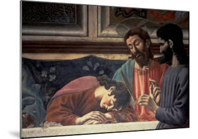 The Last Supper, Detail of Judas, Christ and St. John, 1447 (Fresco) (Detail of 85172)-Andrea Del Castagno-Mounted Giclee Print