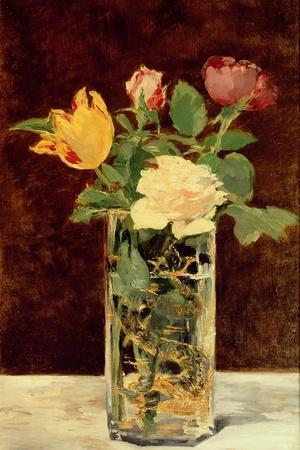 Roses and Tulips in a Vase, 1883-Edouard Manet-Stretched Canvas Print