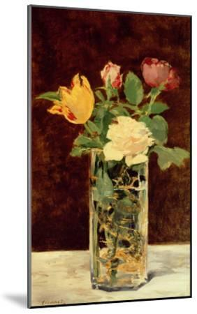 Roses and Tulips in a Vase, 1883-Edouard Manet-Mounted Giclee Print