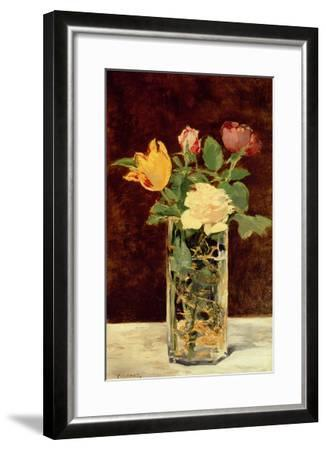 Roses and Tulips in a Vase, 1883-Edouard Manet-Framed Giclee Print
