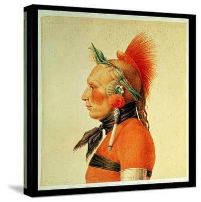 An Osage Warrior, 1804 (Colour Litho)-Charles Balthazar Julien Fevret De Saint-memin-Stretched Canvas Print