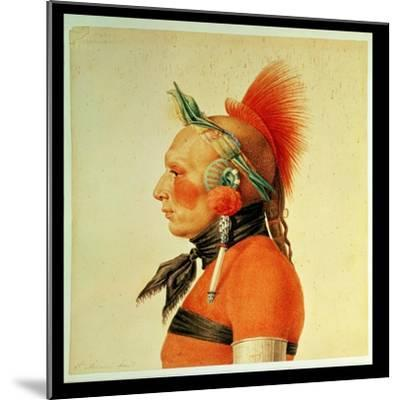 An Osage Warrior, 1804 (Colour Litho)-Charles Balthazar Julien Fevret De Saint-memin-Mounted Giclee Print