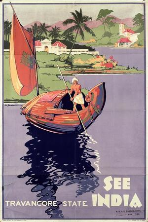 see India', 1938 (Colour Litho)-English-Stretched Canvas Print