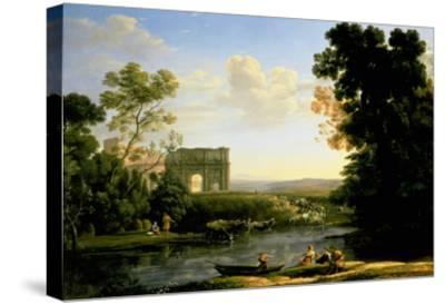 Pastoral Capriccio with the Arch of Constantinople-Claude Lorraine-Stretched Canvas Print
