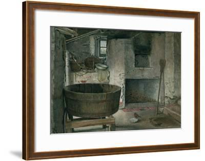 Cottage Interior with Robin, 1930 (W/C on Board)-Violet Linton-Framed Giclee Print
