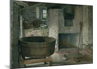 Cottage Interior with Robin, 1930 (W/C on Board)-Violet Linton-Mounted Giclee Print