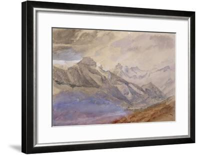 Mont Dauphiny, Near Chartreuse (W/C and Pencil on Paper)-John Ruskin-Framed Giclee Print