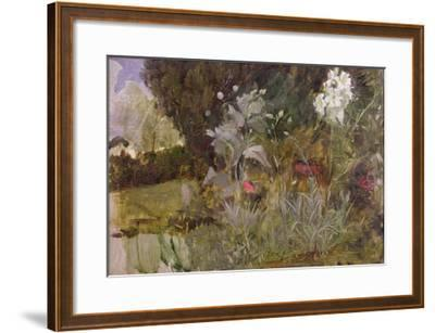 Study of Flowers and Foliage, for 'The Enchanted Garden'-John William Waterhouse-Framed Giclee Print